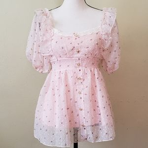 Tops - Pink Chiffon Baby Doll Tunic Tie Back Top